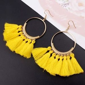 Bohemian Handmade Statement Tassel Earrings Yellow
